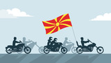 Bikers on motorcycles with Macedonia flag