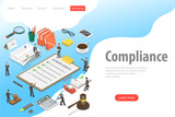 Flat isometric vector landing page template of regulatory compliance. Business people are discussing steps to comply with relevant laws, policies, and regulations.