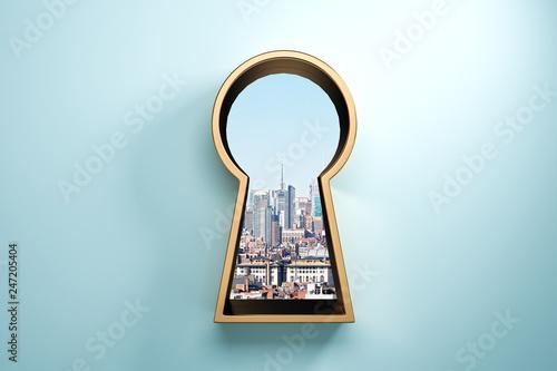 Leinwandbild Motiv Blue wall with golden keyhole