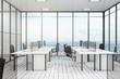 Leinwandbild Motiv White office with city view