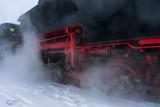 Steam locomotive in winter