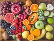 Leinwandbild Motiv Fruits and berries top view.Natural vitamins and antioxidants food concept rainbow.