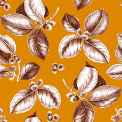 Seamless leaf pattern. Coffee branches. Illustration of coffee leaves and fruits in sketch style. Vintage modern pattern for carpet, carpet, scarf, clipboard, shawl, pattern, fabric, Wallpaper, tile,