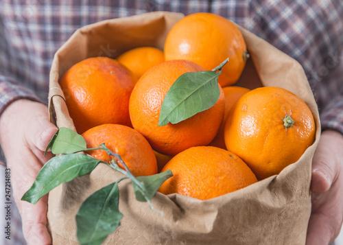 Organic oranges fruits in bag.Hands holding bag with oranges.
