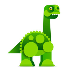 Cute cartoon dinosaur on white background. Prehistoric era. © iaroslav_brylov