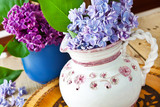 Bouquet of lilac blossoms and leaves