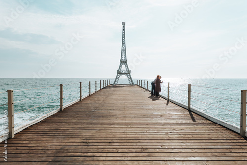 eiffel tower over the black sea. - 247216635