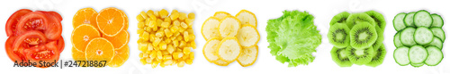 Collection of sliced fruits and vegetables on white - 247218867
