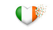 With love to Ireland country. The national flag of Ireland fly out small hearts on white background - 247224265
