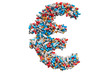 Euro symbol from medicine pills, capsules, tablets. 3D rendering