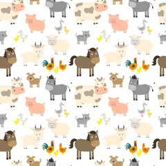 Seamless pattern with cute farm animals. Vector illustration.