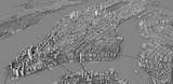 Vista satellitare delle città di New York City, mappa della città, edifici in 3d, 3d rendering. Strade e grattacieli di Manhattan
