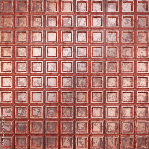 Surface made of metal. Corrugated copper surface. 3D illustration. - 247232662