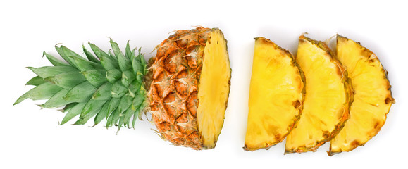Sliced pineapple isolated on white background. Top view. Flat lay © kolesnikovserg