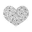 Vector illustration of cartoon heart from heart, notes, stars and butterflies. Coloring page book for Valentines day - 247234673