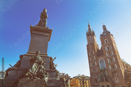 Adam Mickiewicz Statue and St. Mary's Basilica in Krakow