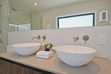 Twin bathroom basins