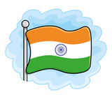 India flag vector icon on a sky background