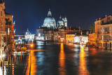 Night city lights at the Grand Canal in Venice, Italy.