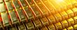 Leinwandbild Motiv Gold bar close up shot. wealth business success concept..
