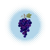 Grape icon on half tone round shape - 247260873