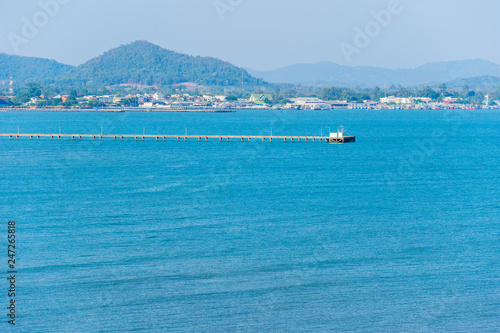 wooden bridge to sea at Rayong,Thailand - 247265818