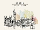Big Ben, Houses of Parliament, river Themes and Westminster bridge in London, England, United Kingdom