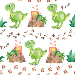 Seamless pattern with cute dinosaur