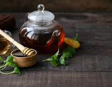 tea in a teapot with mint and honey