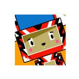 Cute Cartoon Block Tiger Character in Square