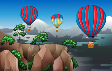 Travel with hot air balloon