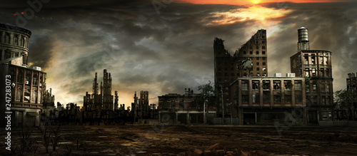 Stormy sky over city ruins - 247283073