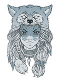 Native American girl with Wolf headdress. Hand drawn lineart vector illustration. Can be used for creating logo, posters, flyers, emblem, prints, tattoo, web