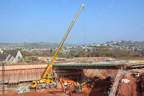 Crane on a road construction site