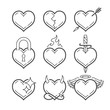 Set of line art vector hearts - 247292668