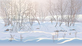 Winter landscape with snowdrifts and forest trees can be successfully used as a background image.