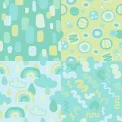 Abstract seamless pattern, modern doodle art background, pastel colour image © botobox