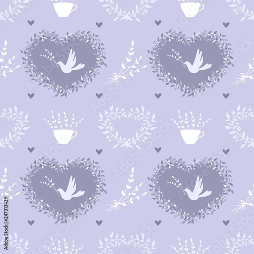 Seamless pattern with vintage elements on lilac background - 247313429