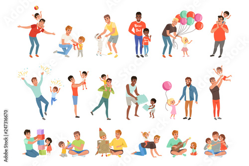 Fathers playing, having fun together and enjoying good quality time with their little children set of vector Illustrations on a white background - 247316670