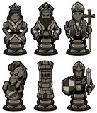 Chess Pieces Set Black 2