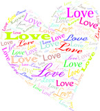 A colourful heart made of word 'love', transparent background