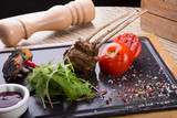 Grilled lamb meat served chili pepper - 247327263