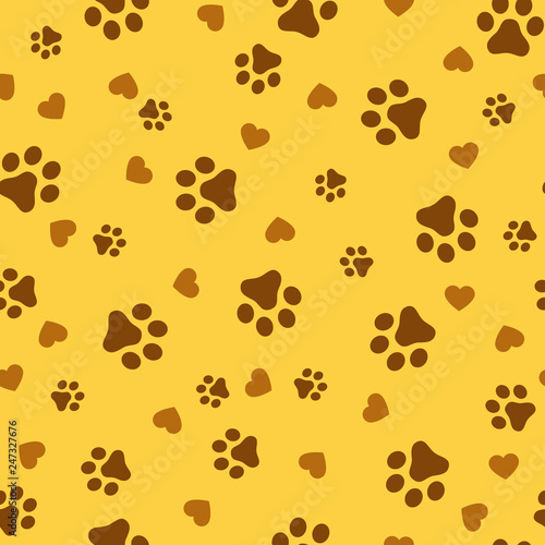 fototapeta na ścianę Dog Paw seamless pattern vector footprint kitten puppy tile yellow background repeat wallpaper cartoon isolated illustration white - Vector.