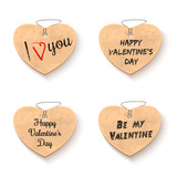 Cardboard hearts collection with romantic and congratulatory inscriptions for Valentines Day. Valentines Day lettering. Love hearts set. Vector Illustration