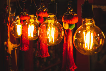 Vintage style light bulb with Chinese decoration
