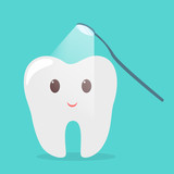 Tooth treating with dental mirror. Idea of oral care - 247338265