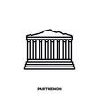 Parthenon temple at Athens, Greece, vector line icon.