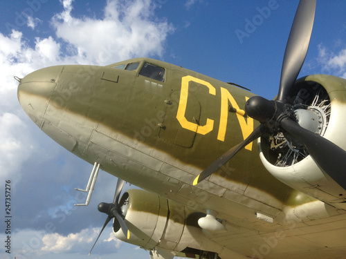 fototapeta na ścianę Various versions and parts of the Douglas C-47 Skytrain or Dakota is a military transport aircraft developed from the civilian Douglas DC-3 airliner.
