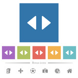 Horizontal control arrows flat white icons in square backgrounds - 247359471