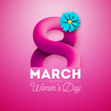 Happy Womens Day Floral Greeting Card Design. International Female Holiday Illustration with Flower and 3d Eight Letter on Pink Background. Vector International 8 March Template.